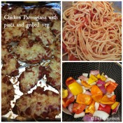 Chicken parmigiana with pasta and grilled veg