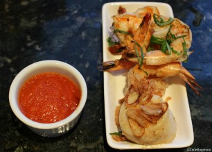 Grilled shrimp, pan-seared scallop with fried shallots and Fra Diavolo Sauce