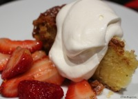 Olive oil cake with Macerated strawberries and Triple Sec whipped cream