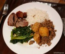 Duck, Chinese cabbage, Tofu and Pork, White rice