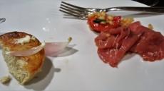 Onion flan & veal carpaccio