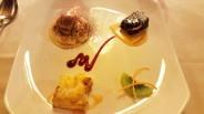 Mascarpone with coffe gelato, chocolate cake with orange sauce, Sambuca parfait