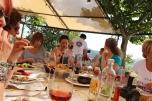 Dining al fresco with Rosemarie, Venetia & Alison