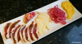 Duck prosciutto, pear, cured red onions, Meyer lemon curd