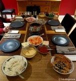 Salmon, Rice, breads, sauces